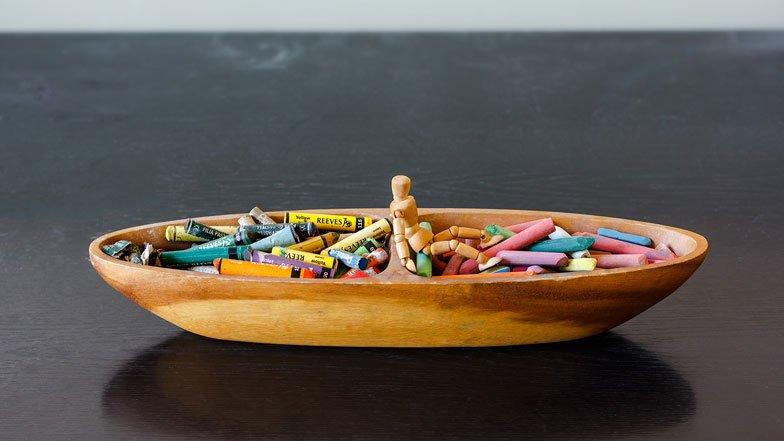 Boat shaped art material container with Art Doll Figure, Art Room, Oscailt, Dublin