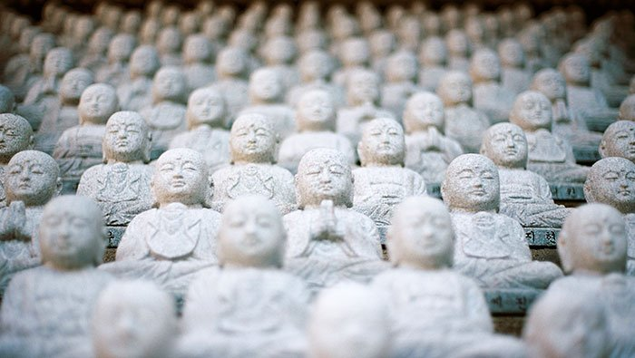 Buddhist Statues on Steps